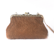Load image into Gallery viewer, Ginger cow hide  Double Purse, 15cm