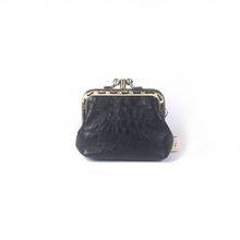 Load image into Gallery viewer, Black Merino Leather Coin Double Purse, 8.5cm