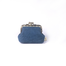 Load image into Gallery viewer, Denim Blue Merino Leather Coin Double Purse, 8.5cm
