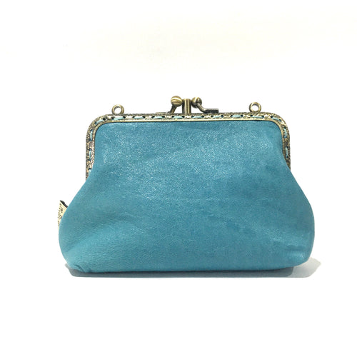 Duck Egg Blue Merino Double Purse, 12cm