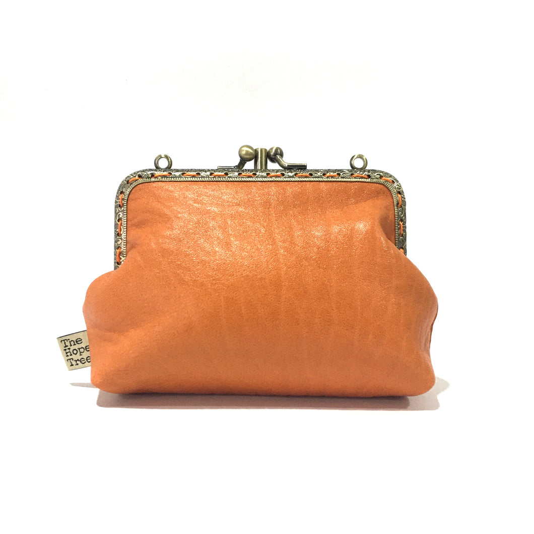 Orange Merino Double Purse, 12cm