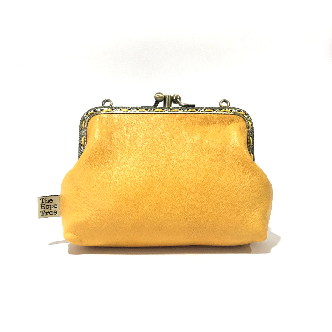 Yellow with a hint of orange Merino Double Purse, 12cm