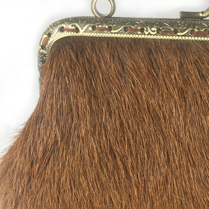 Ginger cow hide  Double Purse, 15cm