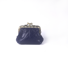 Load image into Gallery viewer, Dark Blue Merino Leather Coin Double Purse, 8.5cm