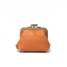 Load image into Gallery viewer, Orange Merino Leather Coin Double Purse, 8.5cm