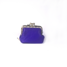 Load image into Gallery viewer, Purple Blue Merino Leather Coin Double Purse, 8.5cm