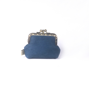 Denim Blue Merino Leather Coin Double Purse, 8.5cm