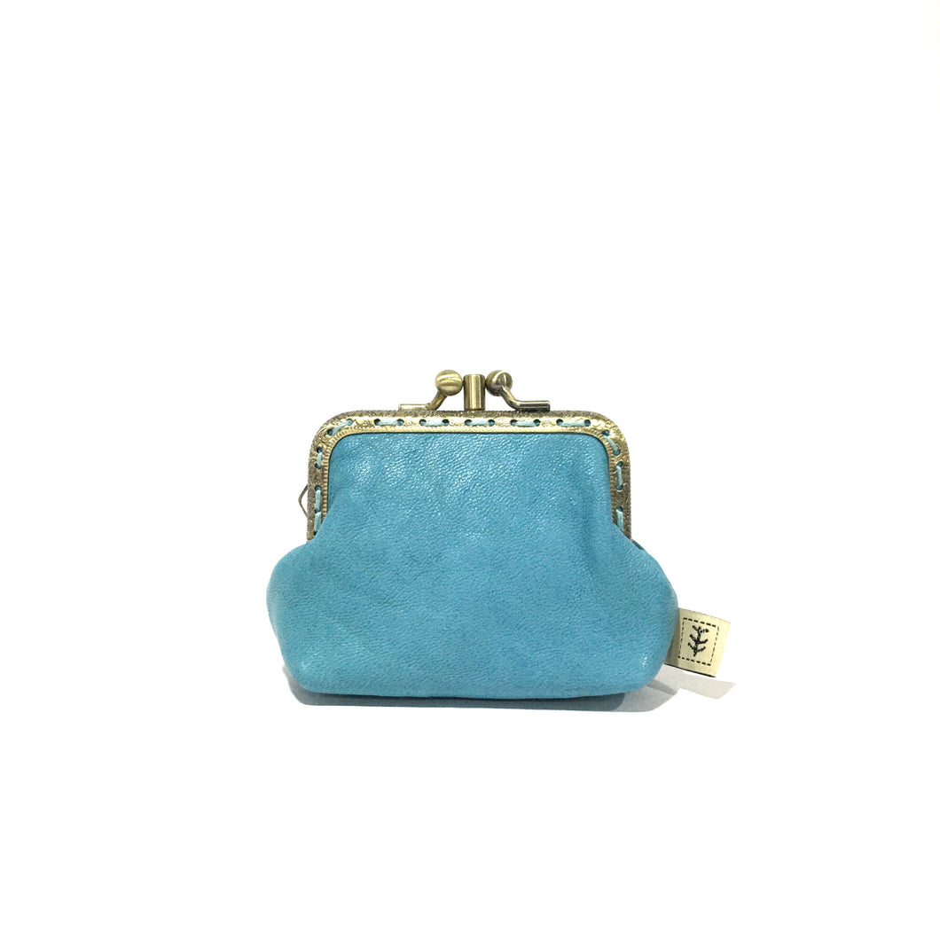 Duck Egg Blue Merino Leather Coin Double Purse, 8.5cm
