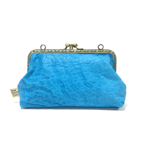 Sky Blue Merino Double Purse, 15cm