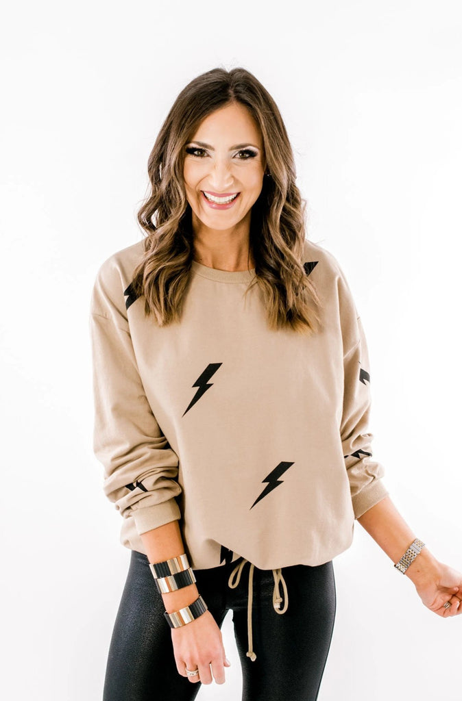 Taupe Lightning Bolt Pullover w/ Bottom Drawstring