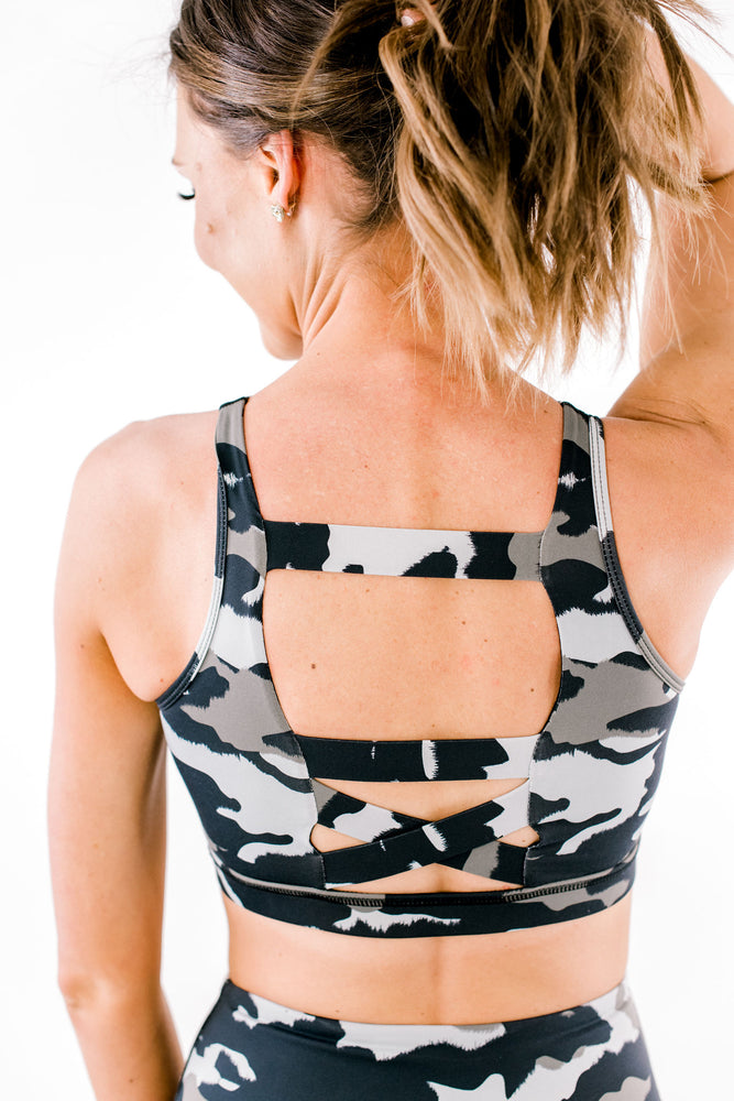 Camo Print Sports Bra w/ Criss Cross Back Detail