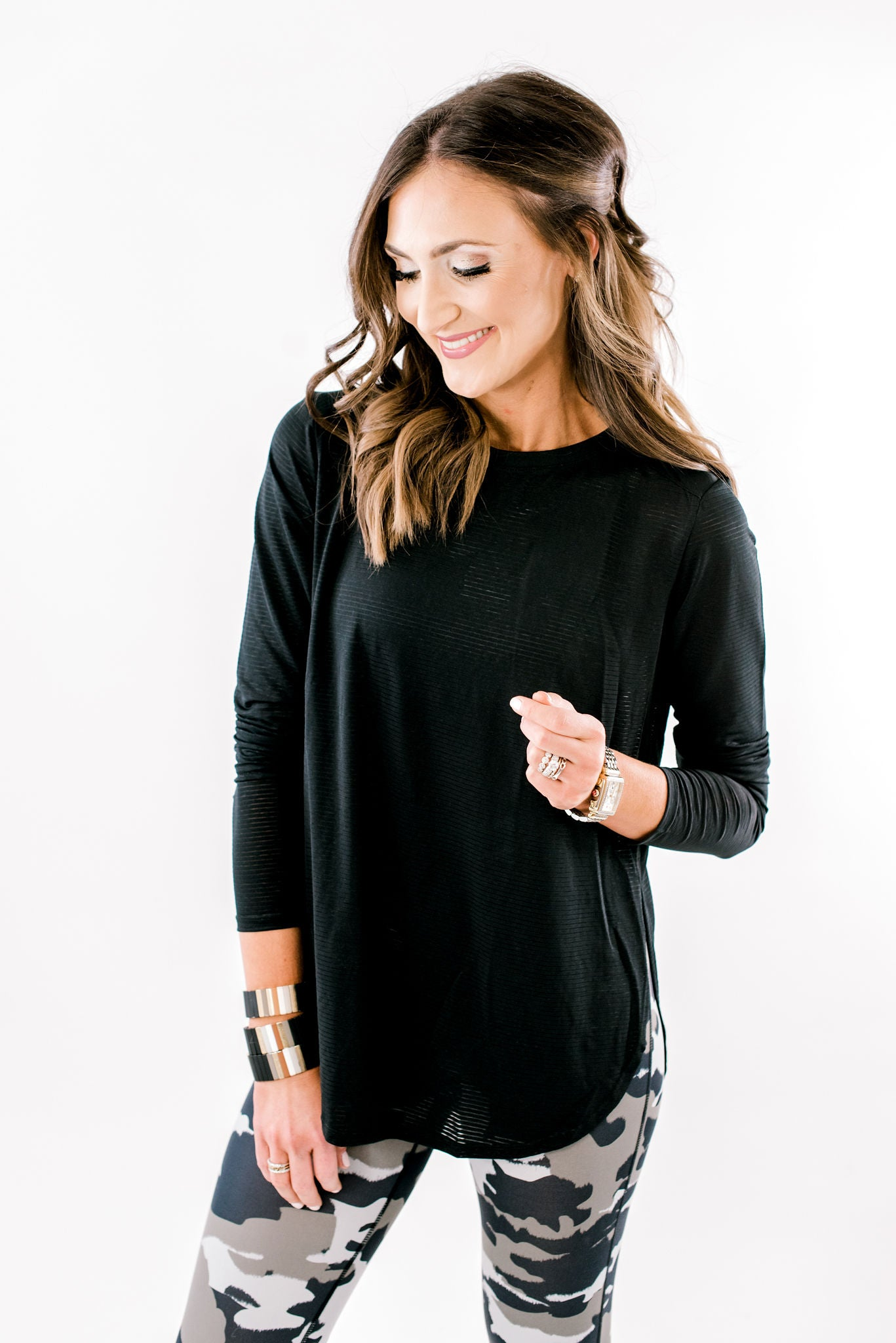 Black Ribbed Mesh Long Sleeve Top