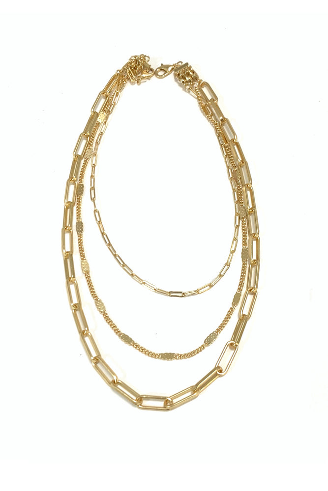 Gold Triple Layer Necklace w/ Separate Chains