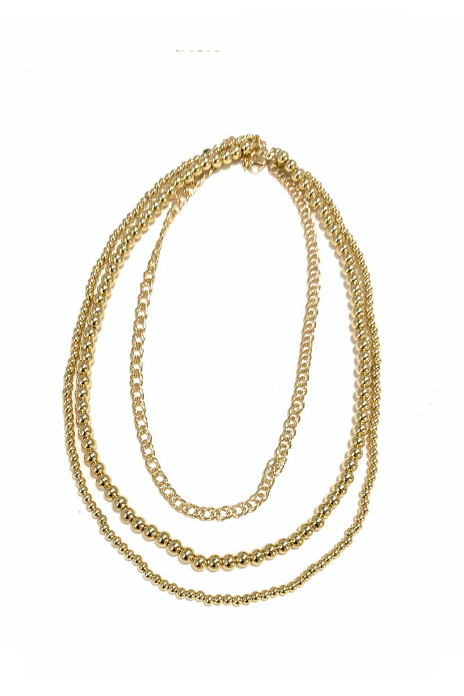 Gold Ball and Chain Layered Necklace