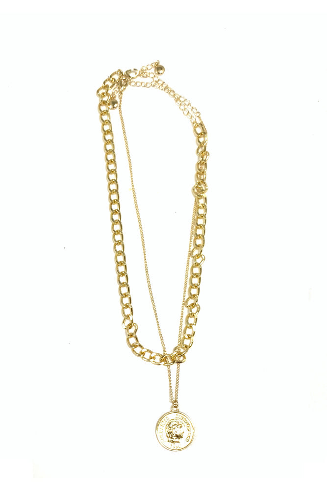 Gold Bold Chain Necklace w/ Delicate Chain and Coin Charm