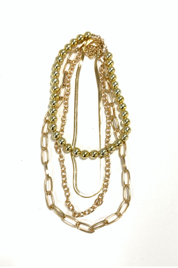 Gold Mixed Chain Layered Necklace w/ Ball Charm