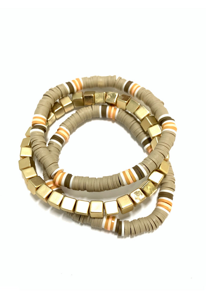 Tan and Gold Block Mixed Bracelet Set