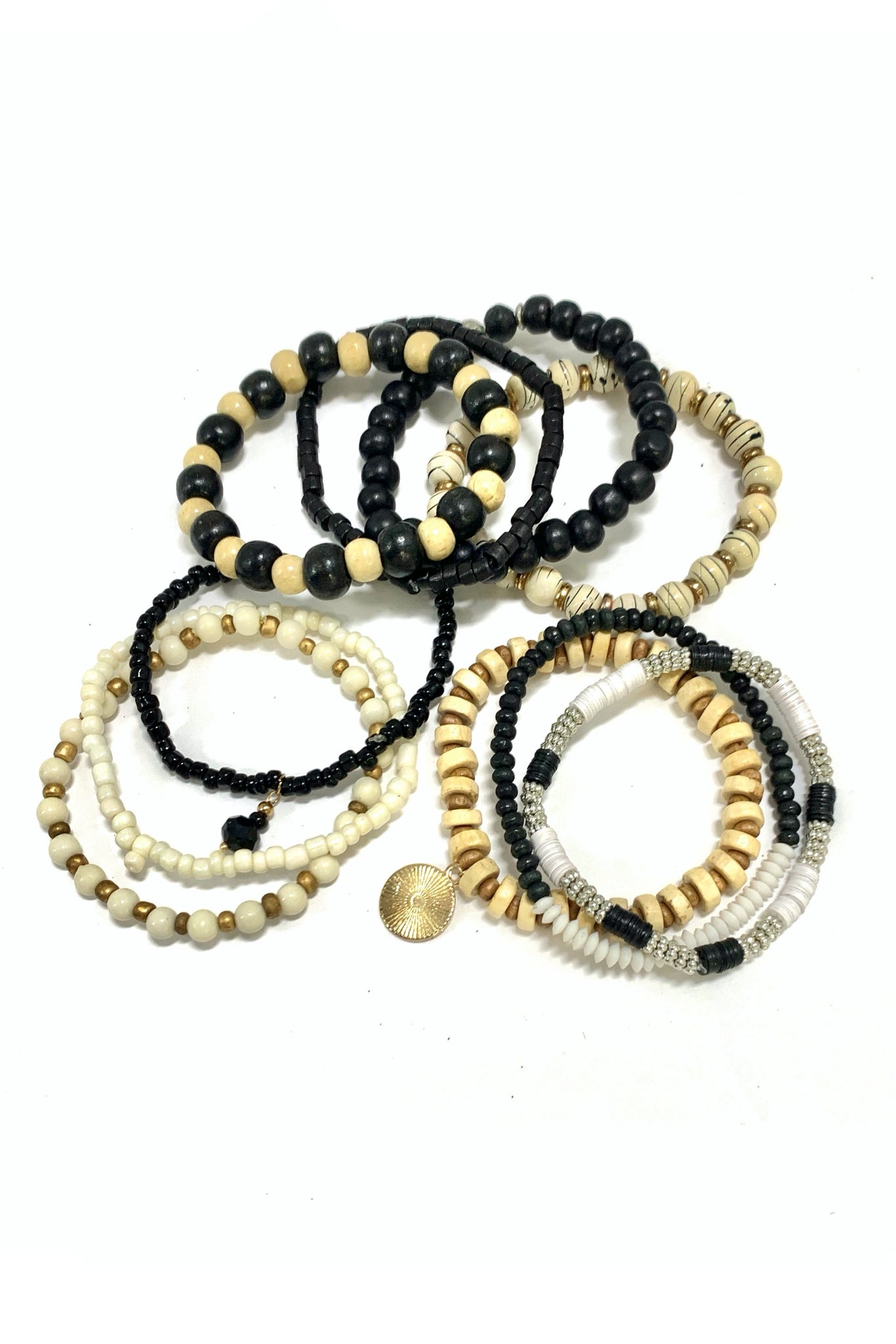 Black White and Mixed Wood Bracelet Set