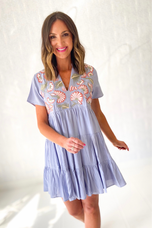 Load image into Gallery viewer, Dusty Blue Short Sleeve Dress w/ Embroidery