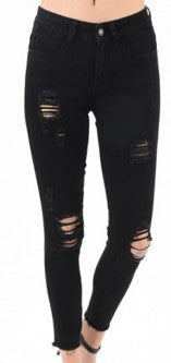 Black Destructed Skinny Jean