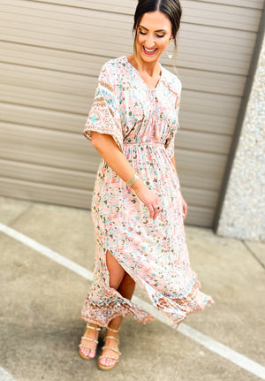 floral maxi dress, boho dress, shop style your senses, look for less, spring dress