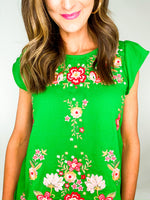 Kelly Green Embroidered Flutter Sleeve Top