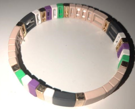 Neutral and Pop Color Tile Bracelet