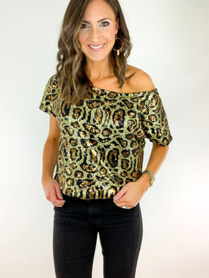 Load image into Gallery viewer, Animal Print Sequin Top