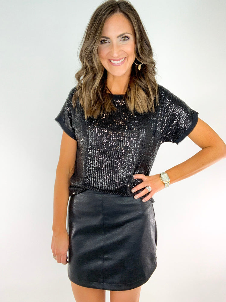 Black Faux Leather Hi Low Mini Skirt