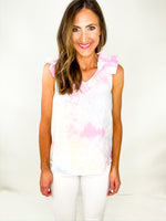 Cotton Candy Tie Dye Ruffle Shoulder Top