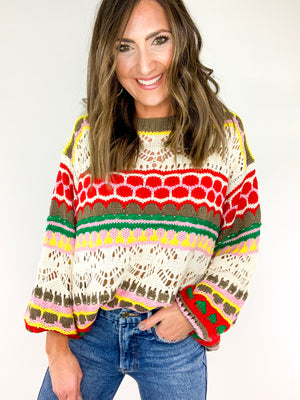 Load image into Gallery viewer, Multi Color Crochet Knit Sweater