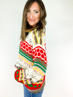 Multi Color Crochet Knit Sweater