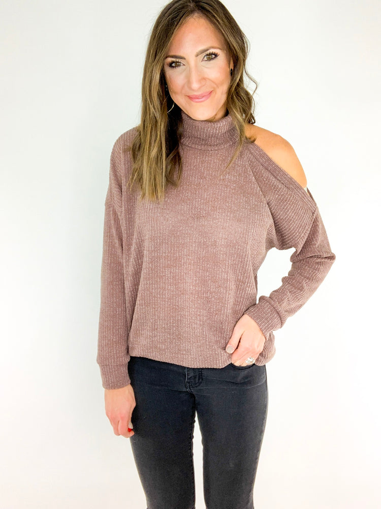 Taupe Single Cold Shoulder Sweater