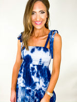 Navy Tie Shoulder Tie Dye Smocked Midi Dress