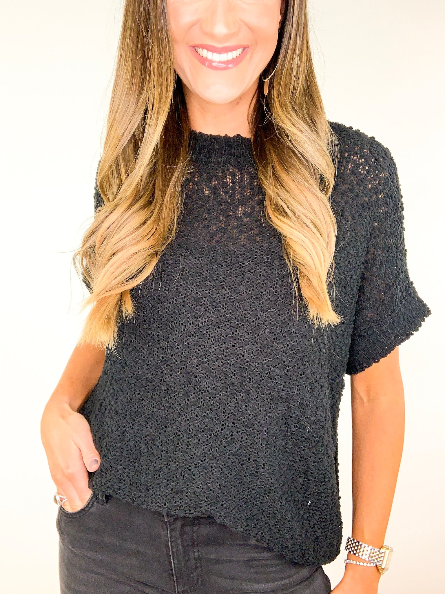 Black Textured Short Sleeve Sweater