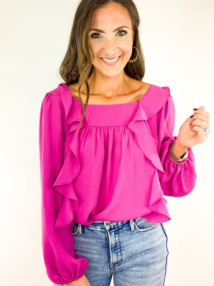 Magenta Square Neck Long Sleeve Top