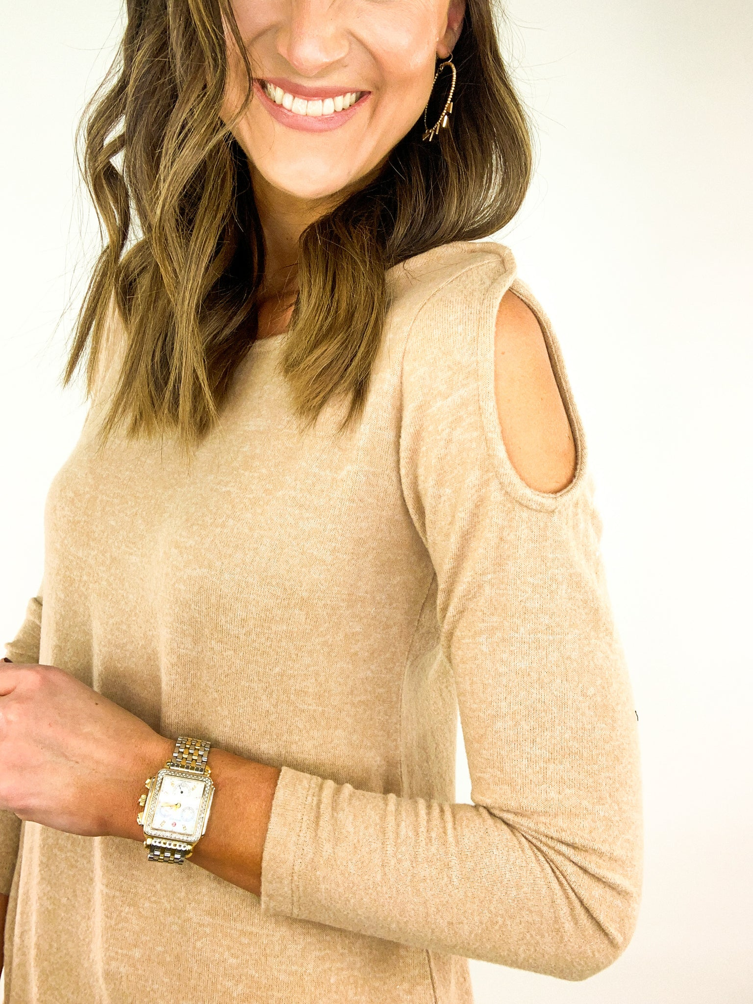 Taupe Cold Shoulder Top
