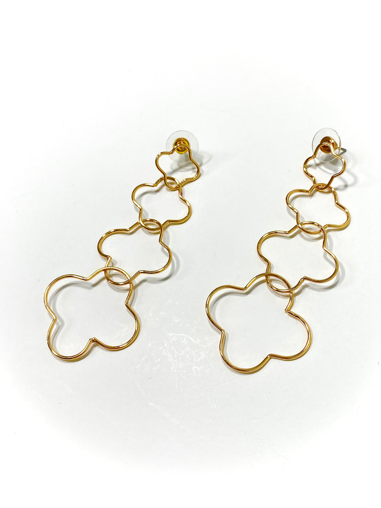 Quadruple Gold Clover Earrings