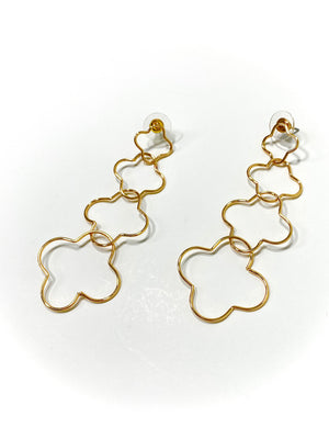 Load image into Gallery viewer, Quadruple Gold Clover Earrings