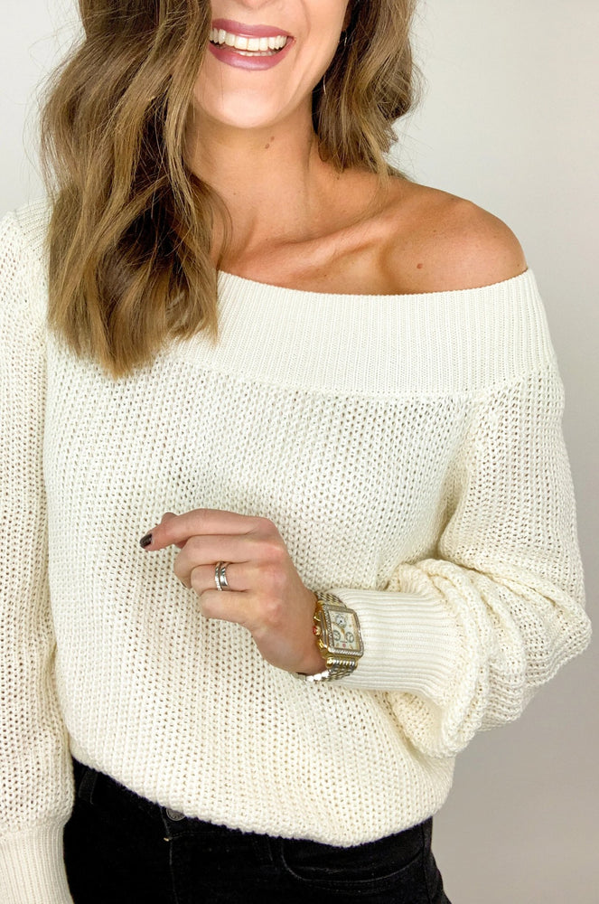 Cream Off the Shoulder Balloon Sleeve Sweater