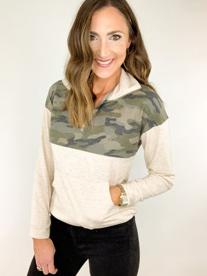 Oatmeal Camo Zip Up Top