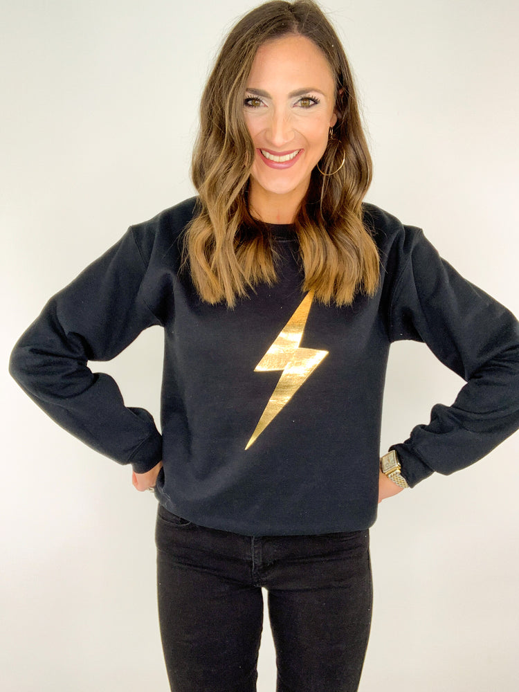 Load image into Gallery viewer, Black Sweatshirt w/ Gold Lightning Bolt
