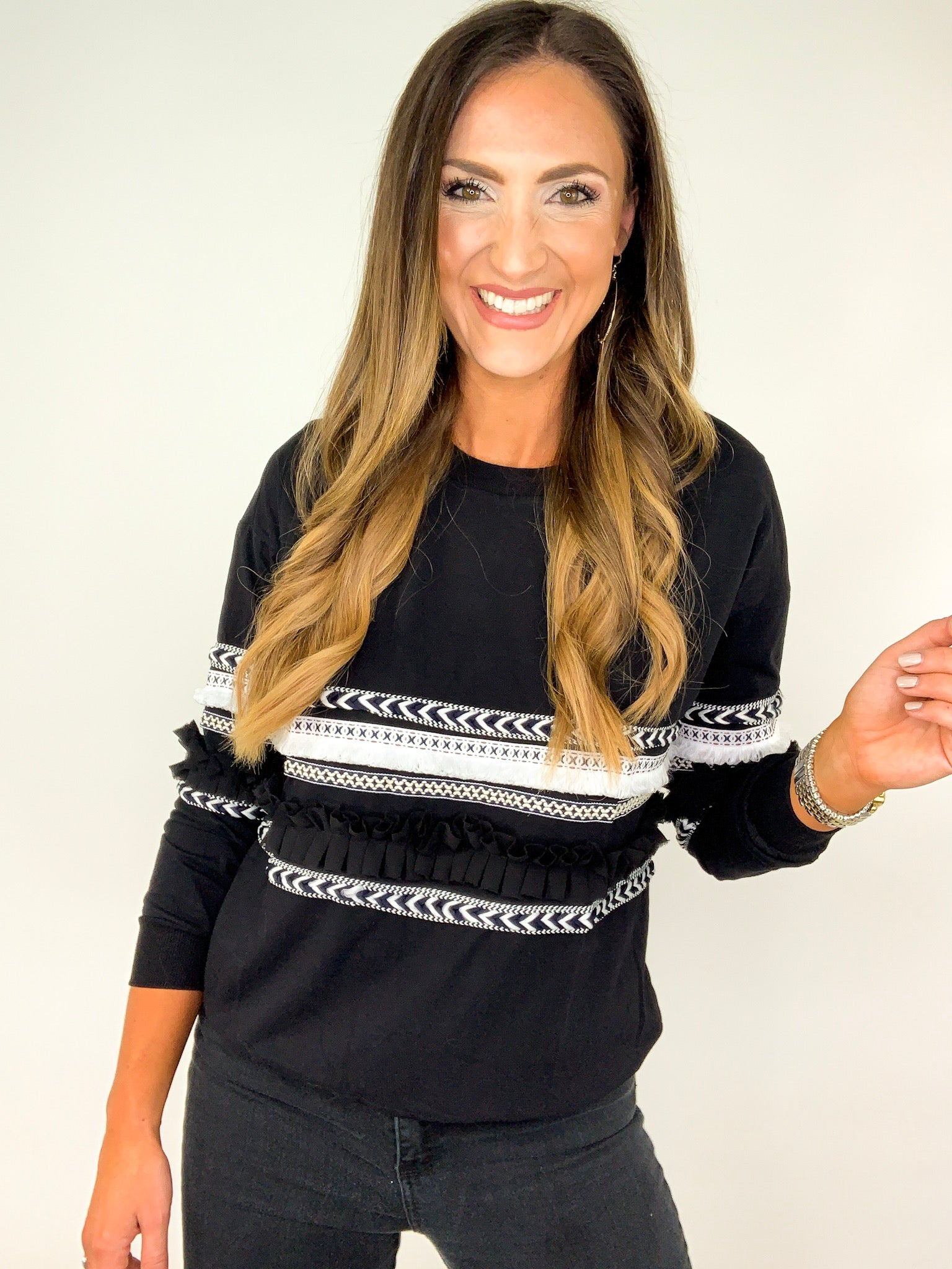 Black Long Sleeve Top w/ Embroidery Detail