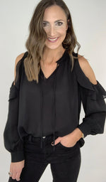 Black Ruffle Cold Shoulder Long Sleeve Blouse