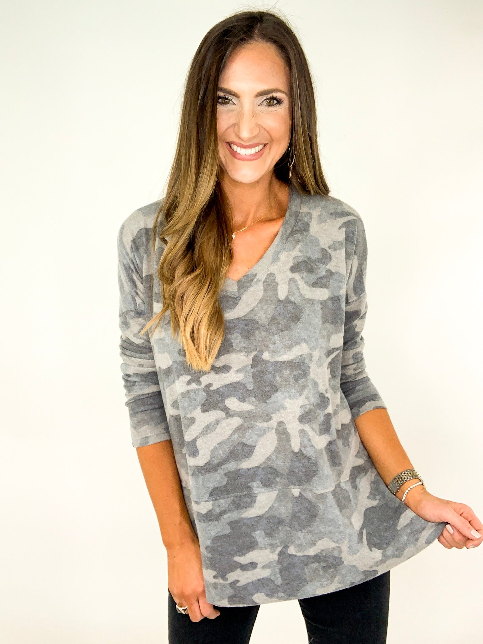 Camo Drop Shoulder V Neck Top