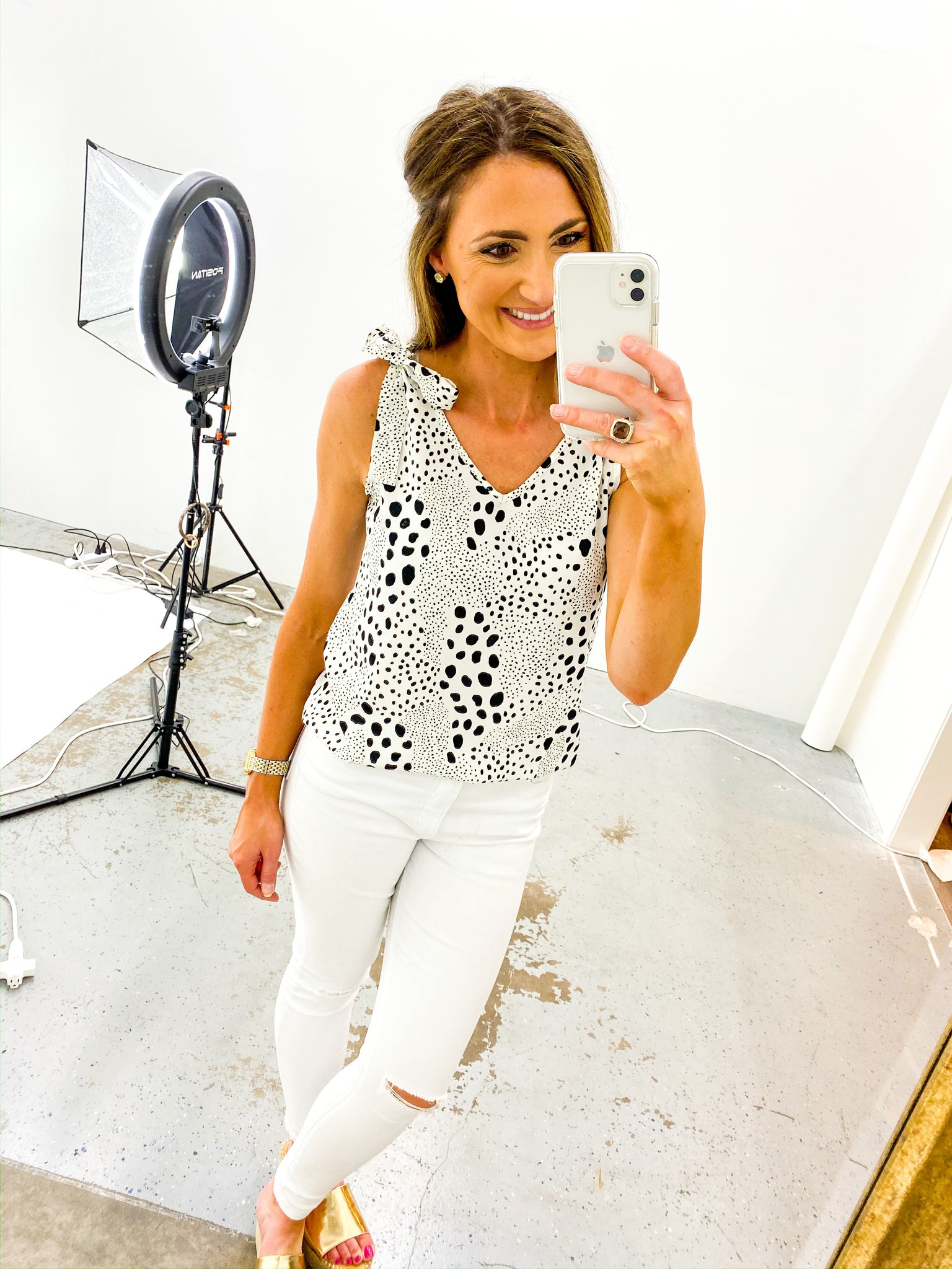 Black and White Spotted Cami w/ Tie Shoulders *FINAL SALE*