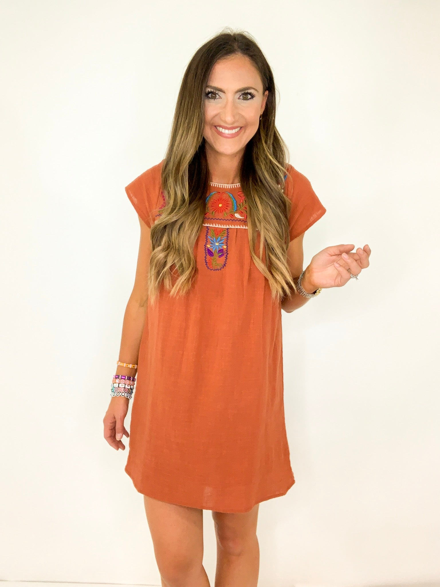Burnt Orange Embroidered Dress