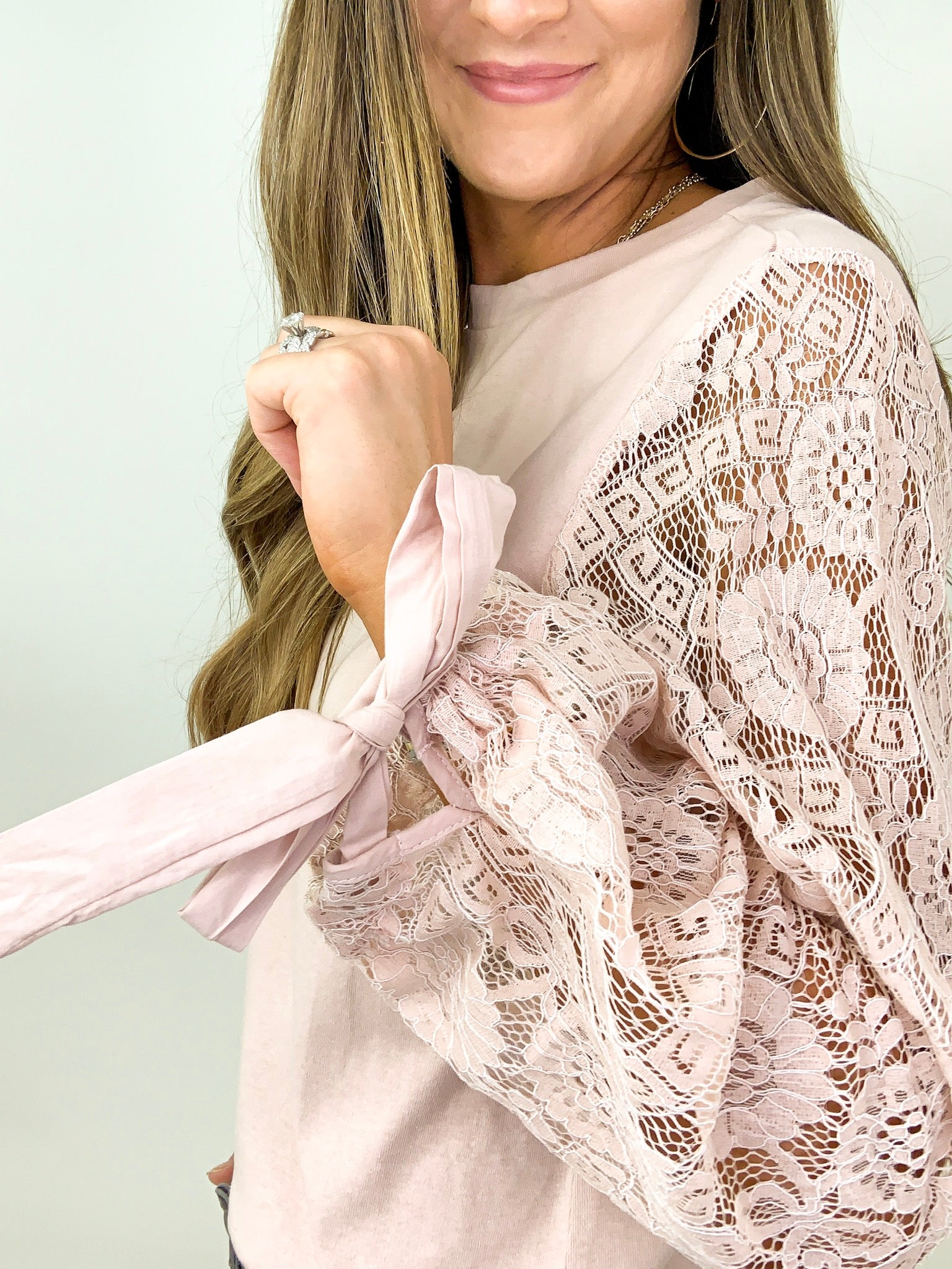 Blush Lace Long Sleeve Knit Top