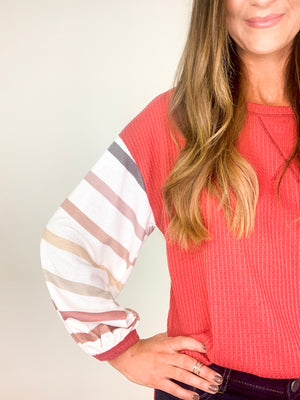 Striped Balloon Sleeve Waffle Thermal Top