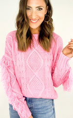 Pink Fringe Sleeve Cable Knit Sweater